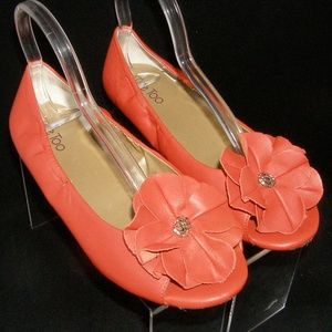 Me Too Leigh orange leather floral ballet flats 9M